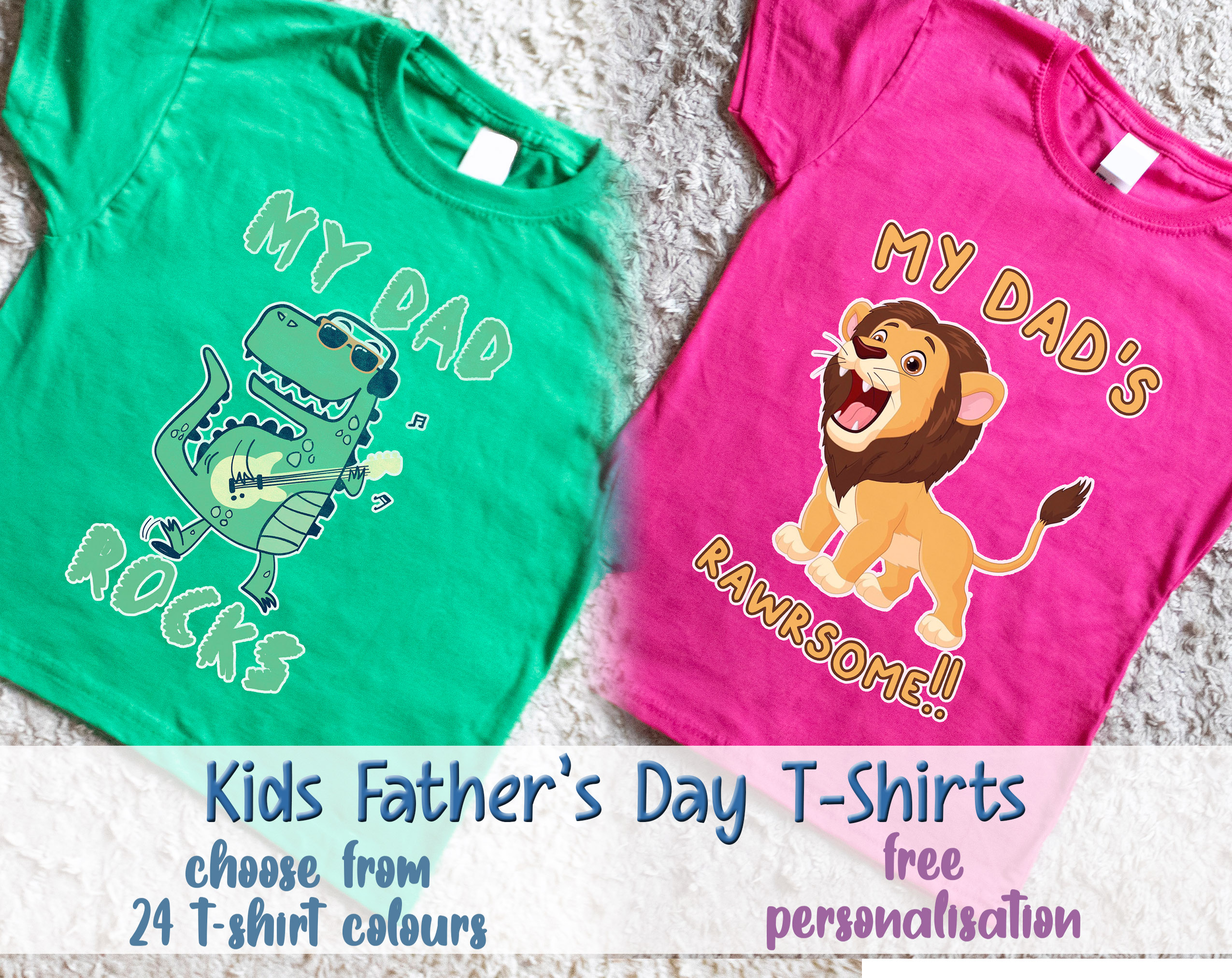 Kids Happy Fathers Day Daddy Pink T Shirt Dad Granddaughter Daughter Gift Top